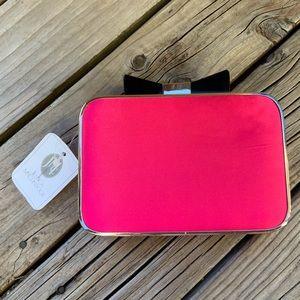 Jessica McClintock Hot Pink Bow Box Clutch READ